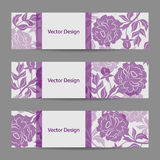 Set of horizontal banners with flowers Royalty Free Stock Photo