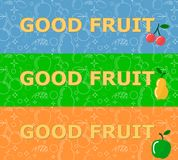 Set of horizontal banners with fruits on bright background. Stock Photo