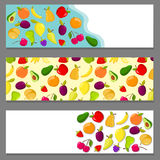 Set of horizontal banners with fruits Stock Photos