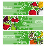 Set of Horizontal Banners about fruits Royalty Free Stock Photo