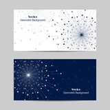 Set of horizontal banners. Geometric pattern with connected lines and dots. Vector illustration on blue background Stock Photography