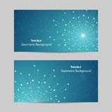 Set of horizontal banners. Geometric pattern with connected lines and dots. Vector illustration on blue background Stock Photos