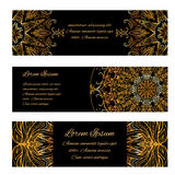 Set of horizontal banners with golden luxury vintage pattern Stock Image
