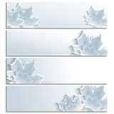 Set of horizontal banners with gray 3d maple leaf. Isolated on white background. Stylish trendy wallpaper with autumn leaf fall. Place for text. Vector Stock Image