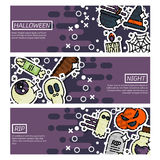 Set of Horizontal Banners about halloween Stock Image