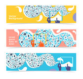 Set of horizontal banners, headers. Editable design template Royalty Free Stock Images