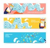 Set of horizontal banners, headers. Editable design template Royalty Free Stock Image