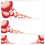 Set of horizontal banners with hearts Background Stock Photos