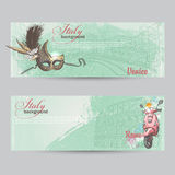 Set of horizontal banners of Italy. Cities of Rome and Venice with a mask and a pink moped Royalty Free Stock Image