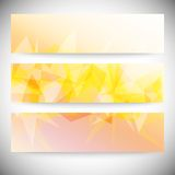 Set of horizontal banners. Light orange polygonal Royalty Free Stock Photography