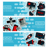 Set of Horizontal Banners about mass media. Social mass media banner horizontal set communication elements isolated vector illustration royalty free illustration