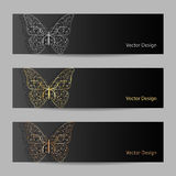 Set of horizontal banners with matal butterflies Royalty Free Stock Photos