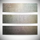 Set of horizontal banners. Microchip backgrounds, Royalty Free Stock Images