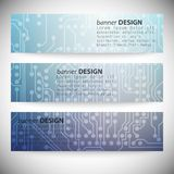 Set of horizontal banners. Microchip backgrounds, Stock Photography