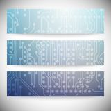Set of horizontal banners. Microchip backgrounds, Royalty Free Stock Photography