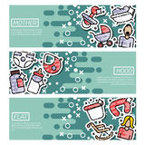 Set of Horizontal Banners about motherhood. Vector illustration, EPS 10 Stock Image