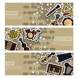 Set of Horizontal Banners musical instruments Royalty Free Stock Photo
