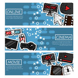 Set of Horizontal Banners online cinema Stock Photo