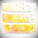 Set of horizontal banners. Orange triangle design Royalty Free Stock Photos