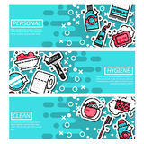 Set of Horizontal Banners about personal hygiene. Vector illustration, EPS 10 Stock Photo