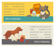 Set of horizontal banners. Pet care. Vet clinic. Flat design. Royalty Free Stock Image