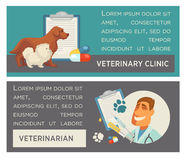 Set of horizontal banners. Pet care. Vet clinic. Flat design. Royalty Free Stock Photo