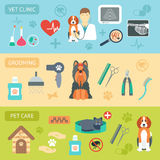 Set of horizontal banners. Pet care. Vet clinic. Grooming. Flat design. Vector Stock Photography
