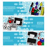 Set of Horizontal Banners about polygraphy. Spectrum and gamma, technology equipment, ink and palette, vector illustration Royalty Free Stock Photos