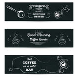 Set of horizontal banners. Poster with greeting lettering stylized drawing with cup of coffe chalk on blackboard Stock Images