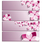Set of horizontal banners purple with blossoming sakura. Set of horizontal banners purple with 3d blossoming sakura isolated on white background. Stylish trendy stock illustration