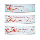 Set of horizontal banners with red heart ribbon. Royalty Free Stock Photo