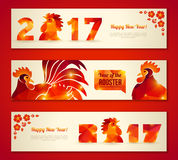 Set of Horizontal Banners with Rooster Royalty Free Stock Image