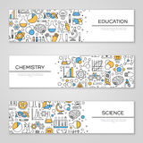 Set of Horizontal Banners with Science Symbols Royalty Free Stock Images