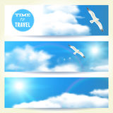 Set of Horizontal Banners with Seagulls. Stock Photo