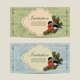 Set of horizontal banners. Beautiful frame with bullfinch and pine branches on vintage postcard background Royalty Free Stock Photo