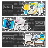 Set of Horizontal Banners about Sleep time Royalty Free Stock Photography