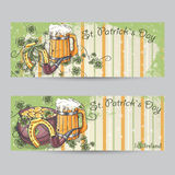 Set of horizontal banners for St. Patrick's Day stock illustration