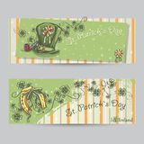 Set of horizontal banners for St. Patrick's Day with leaves Royalty Free Stock Images