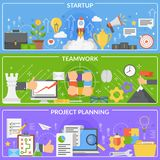 Startup Development Concept Banners. Set of horizontal banners with startup development concept including project planning and teamwork isolated vector Stock Images