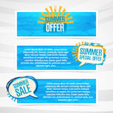 Set of horizontal banners with stickers, labels. Badges summer sale. Blue texture background. Place for your text. Vector Royalty Free Stock Images