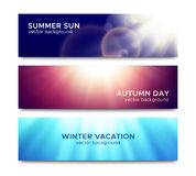 Set of horizontal banners with sun rays. Set of horizontal banners with bright sun rays abstract background for website header or night party flyer template Stock Image