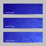 Set of horizontal banners with swirl pattern Royalty Free Stock Photos