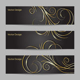 Set of horizontal banners with swirl pattern Stock Image