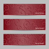 Set of horizontal banners with swirl pattern Royalty Free Stock Photography