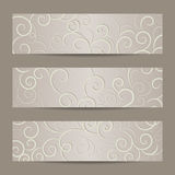 Set of horizontal banners with swirl pattern Royalty Free Stock Photo