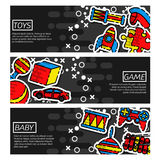 Set of Horizontal Banners about Toys Stock Images