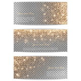 Set of horizontal banners transparent background. Set of horizontal banners with golden light on a transparent background Royalty Free Stock Photo