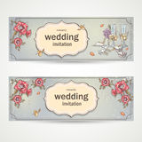 Set of horizontal banners wedding invitations with poppies, glasses, doves and the bride's shoe Royalty Free Stock Image