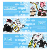 Set of Horizontal Banners about Wedding Royalty Free Stock Images