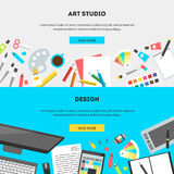 Set horizontal banners workplace of a designer. Set horizontal banners, flat design vector illustration of modern creative office workspace, workplace of Stock Photography